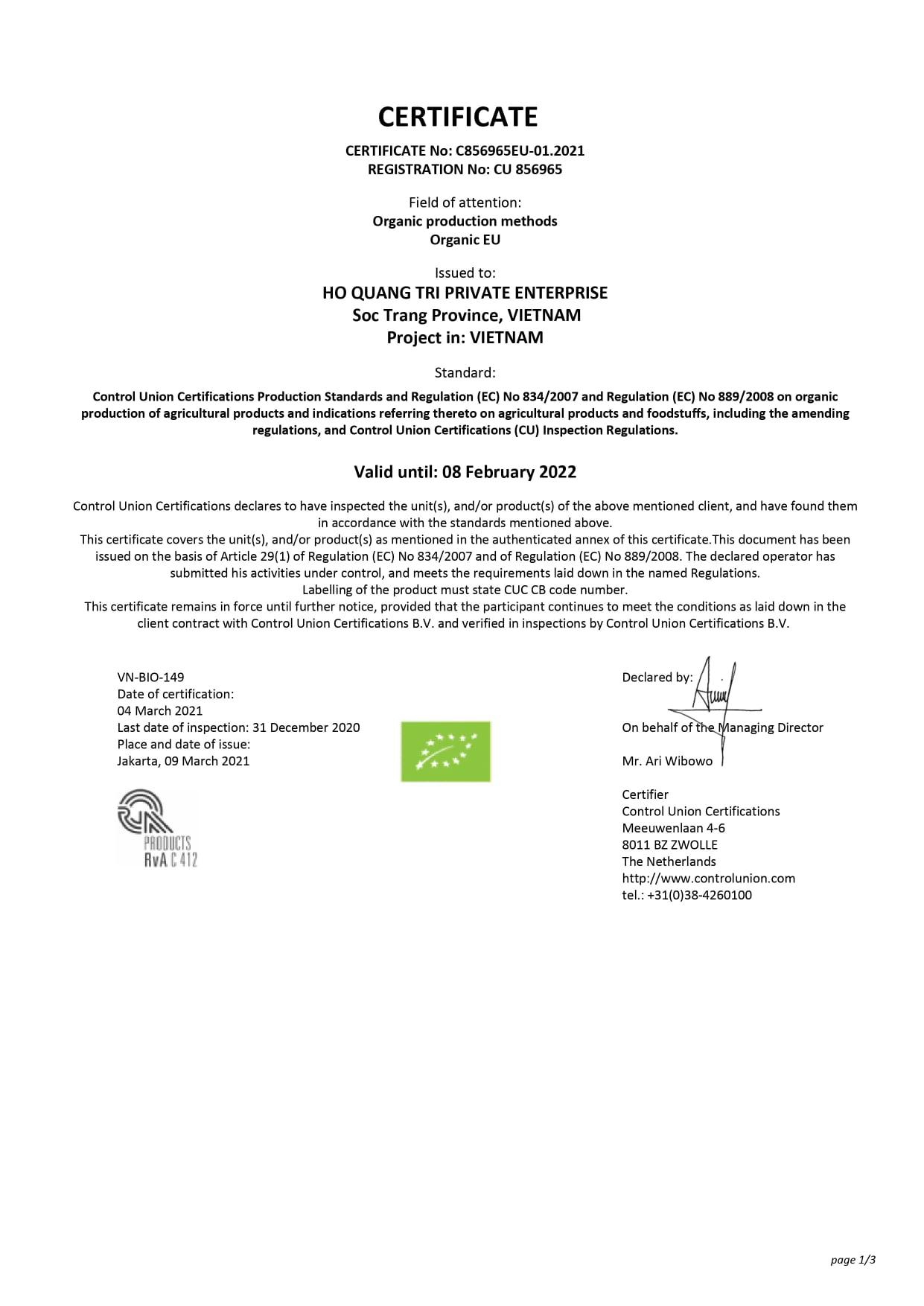 EU Organic 2021