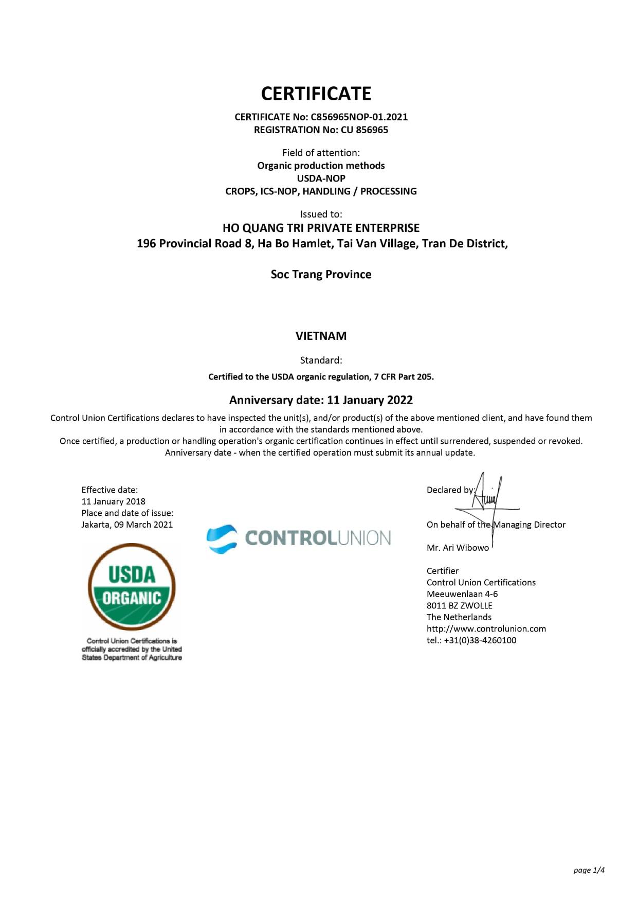 USDA Organic 2021